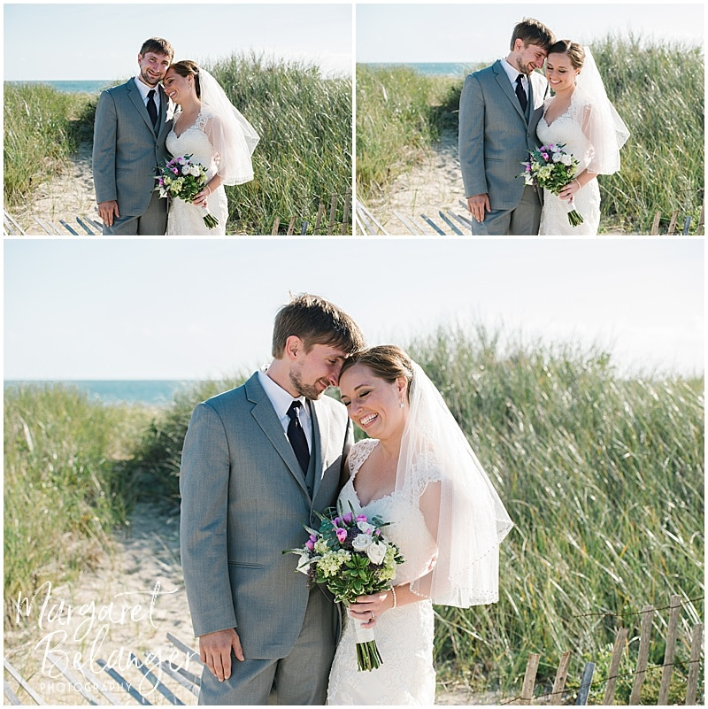 Snuggly portraits of the bride and groom at Horseneck Beach State Reservation