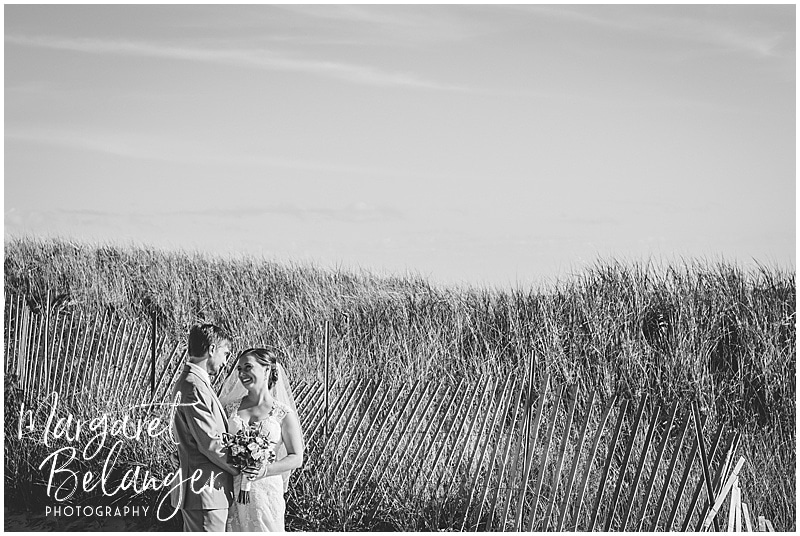 Black and white portrait of the bride and groom at Horseneck Beach State Reservation