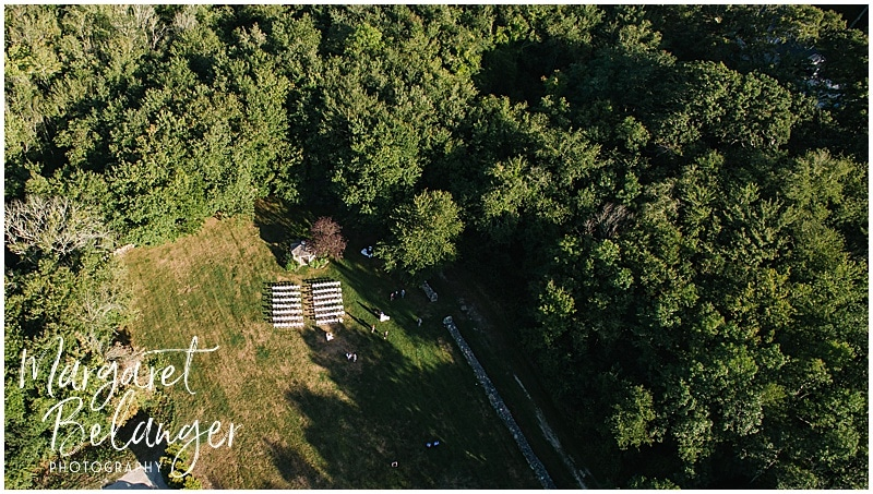 Overhead drone shot of the wedding ceremony site, Bittersweet Farm