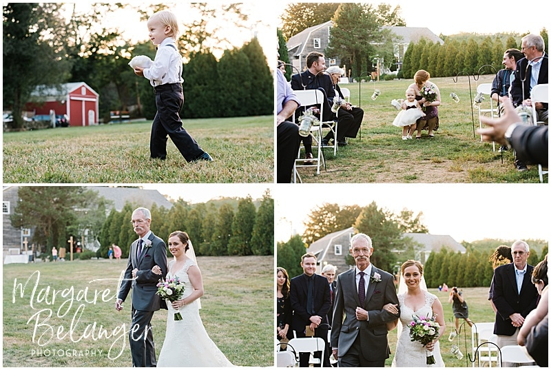 Ring bearer, flower girl, and bride and her father walk down the aisle at Bittersweet Farm