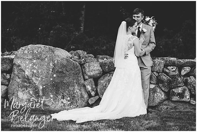 black and white Bride and groom portrait at Bittersweet Farm in Westport, MA