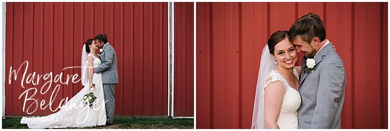 Bride and groom portraits in front of a red wall at Bittersweet Farm in Westport, MA