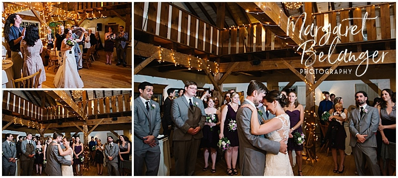 Bride and groom's first dance at their Bittersweet Farm wedding