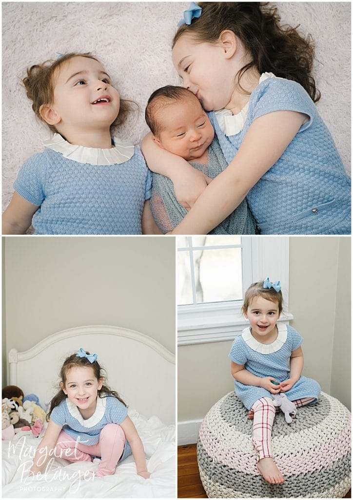 Brookline newborn session, sisters with their new brother