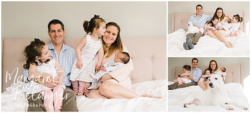 Brookline newborn session, family on bed with dog