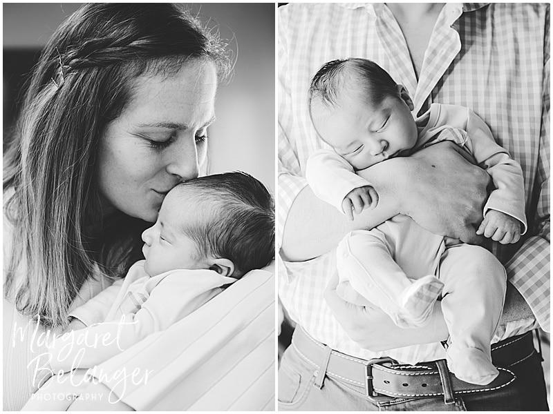 Brookline newborn session, mom with newborn son and dad with newborn son