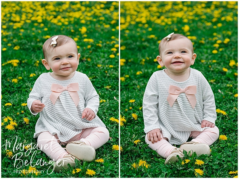 Cambridge family session, baby in grass and dandelions