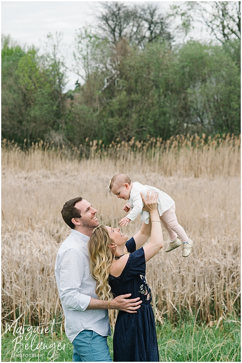 Cambridge family session, family photos in tall grass