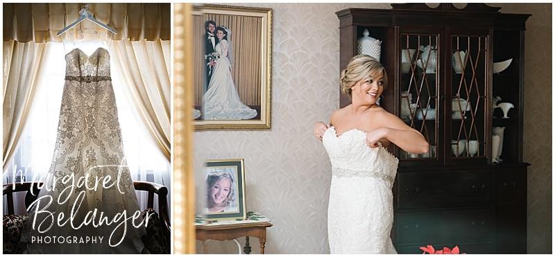 Wedding dress in window, bride getting dressed