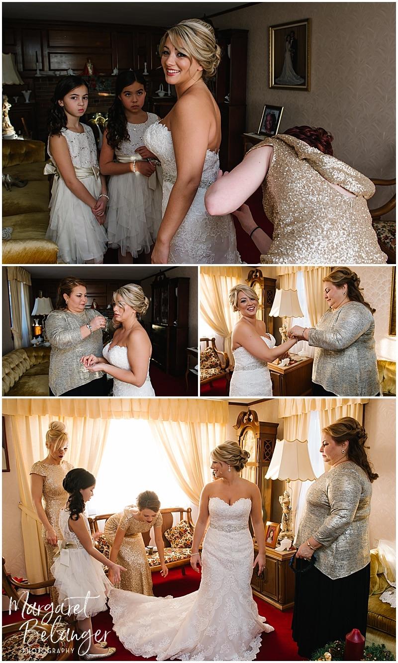 Winter wedding bride getting ready