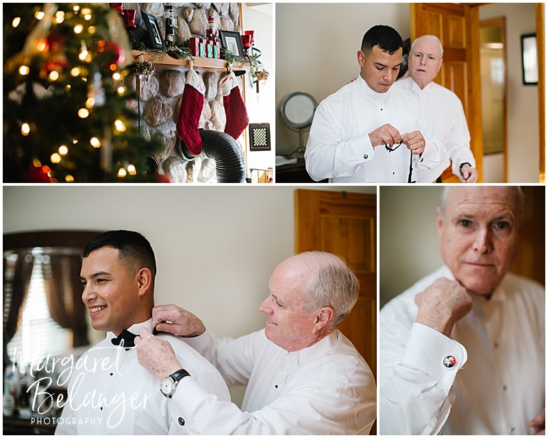 Groom and his dad getting ready at home at Christmas time