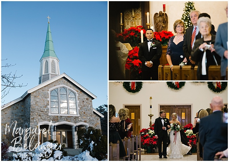 Winter wedding ceremony at a church