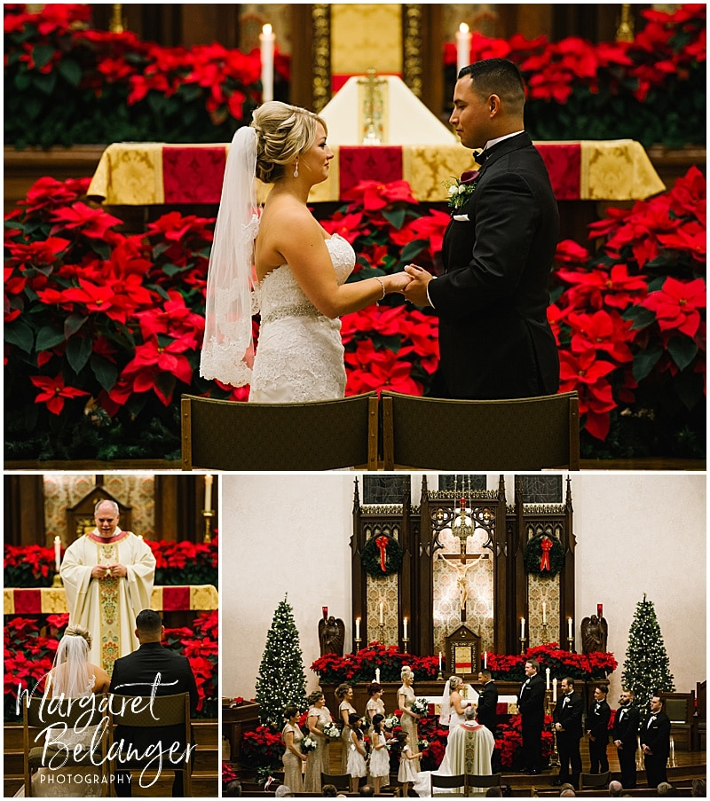 Bride and groom during their winter wedding ceremony