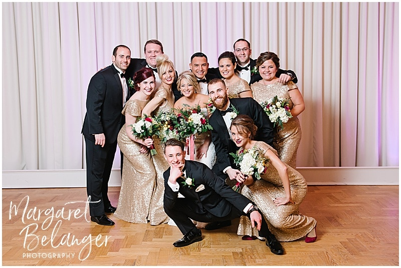 Fun portrait of the wedding party, winter wedding