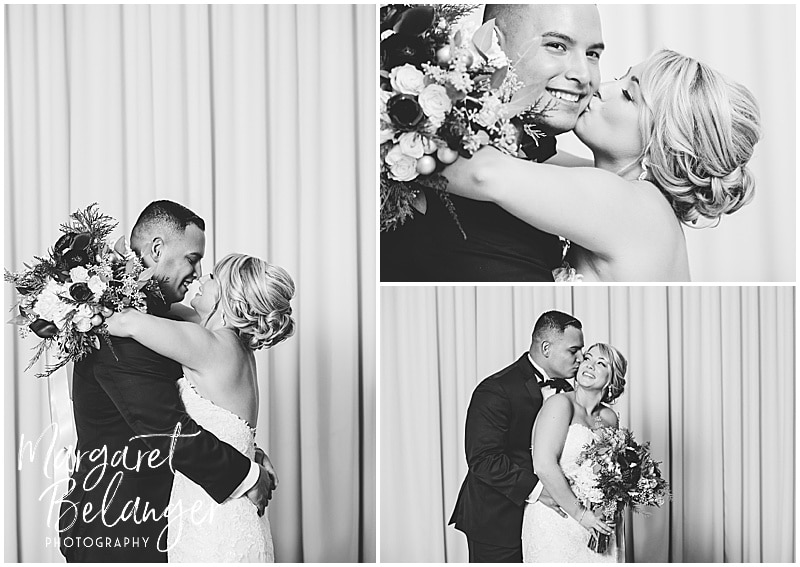 Black and white portraits of the bride and groom inside Castleton, Windham, NH