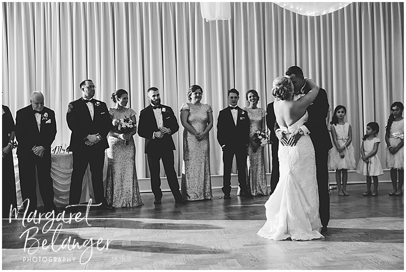 Black & white photo of bride and groom's first dance at their Castleton wedding reception, Windham, NH
