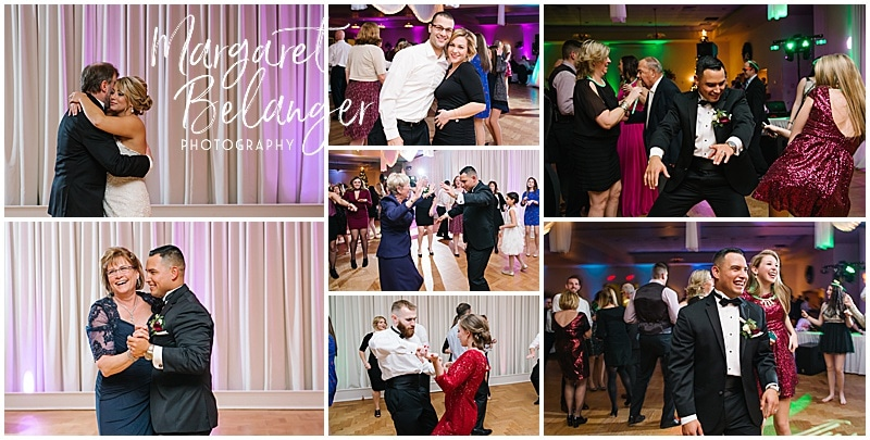 Parent dances and partying at a Castleton winter wedding reception, Windham, NH