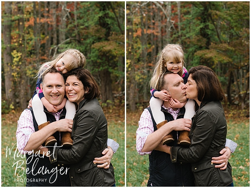 Little girl on daddy's shoulders, hugging mom at their Bradley Estate fall family session, Canton
