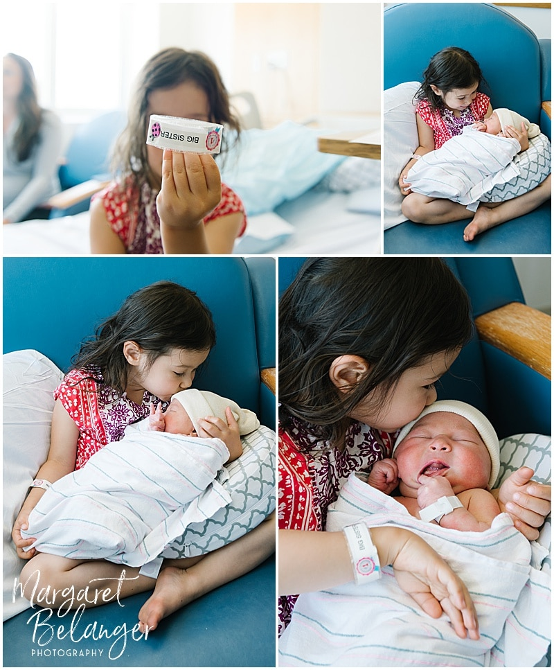 Brigham and Women's Hospital Fresh 48 newborn session - big sister holding baby