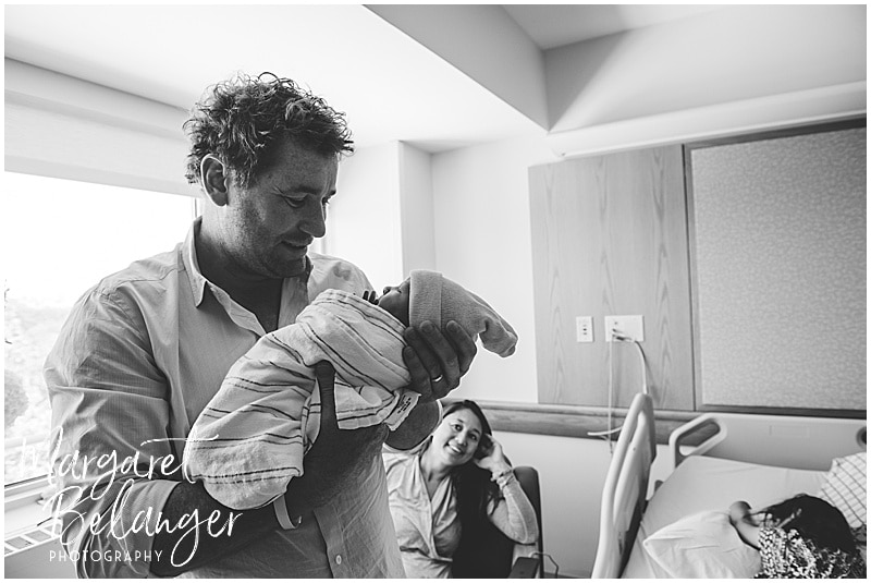 Brigham and Women's Hospital Fresh 48 newborn session - dad holding baby