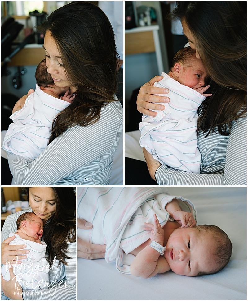 Brigham and Women's Hospital Fresh 48 newborn session - mom snuggling baby