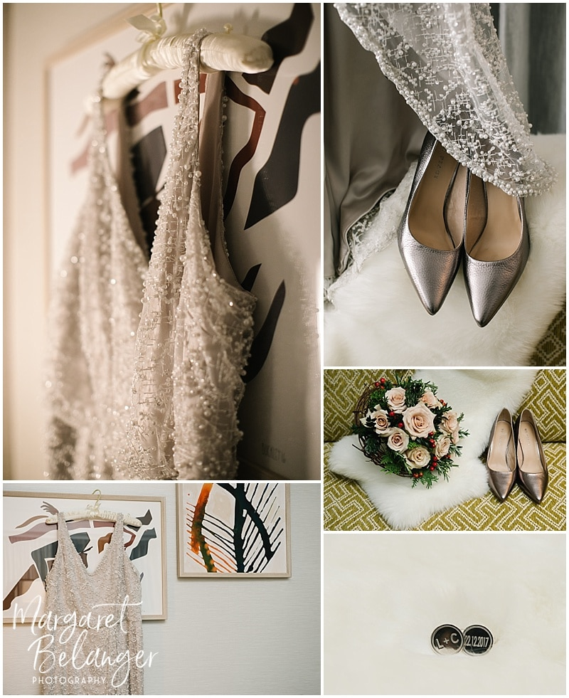 The bride's dress, shoes, and bouquet. The groom's silver cufflinks with the wedding date.