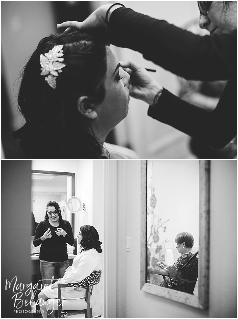 The bride having her hair and make up done at the Ritz Carlton Boston