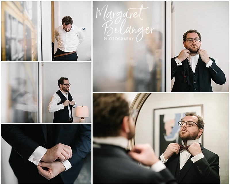 The groom getting ready for his winter wedding. Putting on his cufflinks, straightening his bow tie.