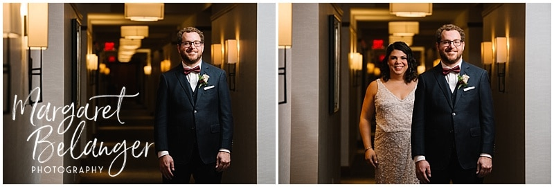 Bride walks up behind groom for their First Look at the Ritz Carlton Boston