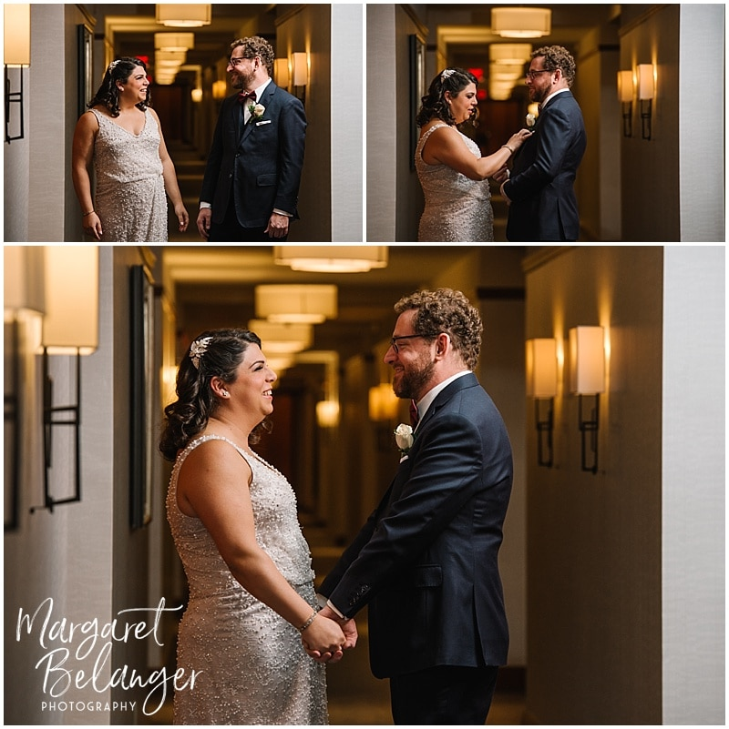 Bride and Groom see each other for the first time at their First Look at the Ritz Carlton Boston