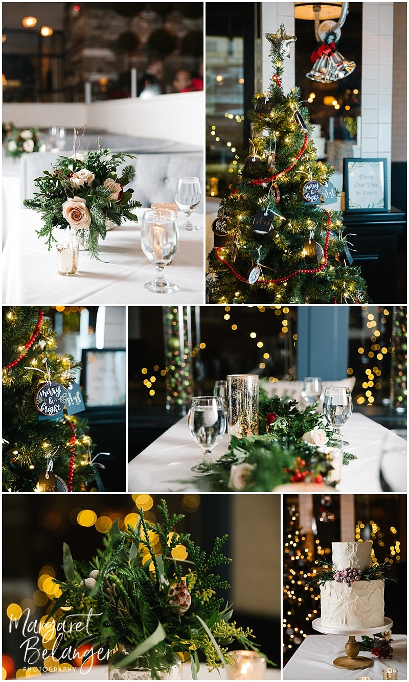 Winter wedding details such as flower arrangements on tables, Christmas ornament favors, wedding cake, and table decor.