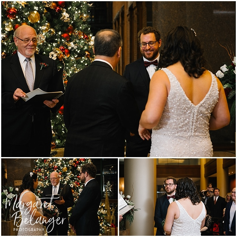 Intimate Boston wedding ceremony in front of Christmas tree, Downtown Crossing