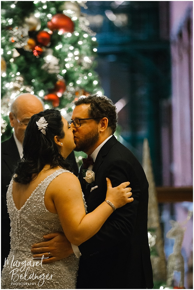 First Kiss as husband and wife in intimate Boston wedding