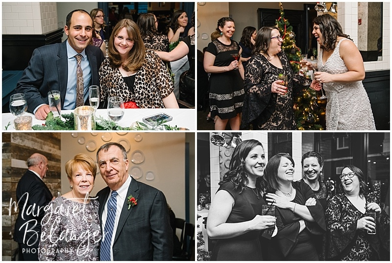 Portraits of guests at an intimate Boston restaurant winter wedding reception
