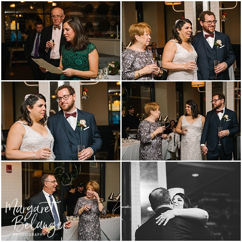 Toasts and speeches at an intimate Boston restaurant winter wedding reception