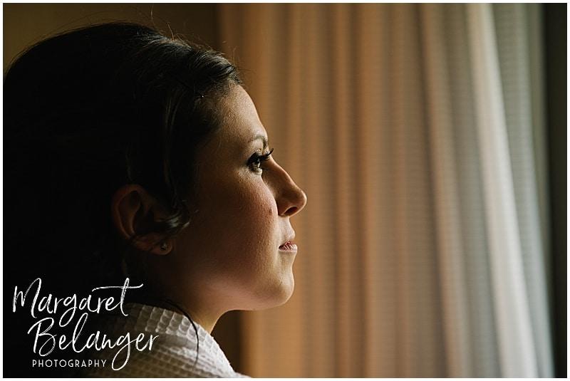 Natural light portrait of Rhode Island bride getting ready