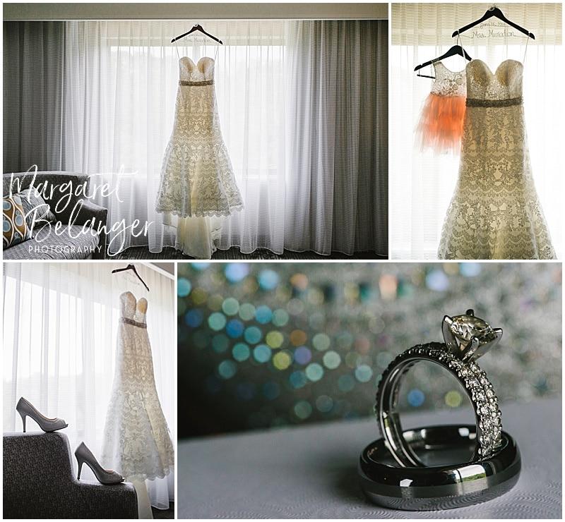 Rhode Island wedding details - dress, rings, shoes