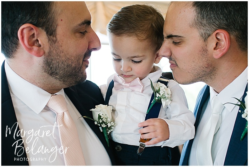 Kirkbrae Country Club outdoor wedding ceremony, groom with brother and nephew