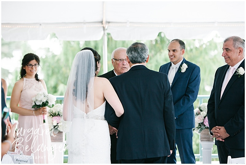 Kirkbrae Country Club outdoor wedding ceremony, bride and her father walking down the aisle