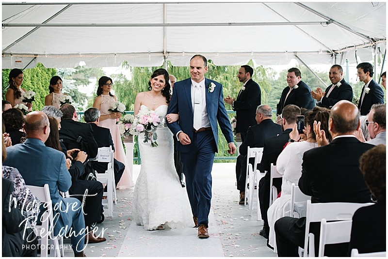 Kirkbrae Country Club outdoor wedding ceremony, bride and groom recessing