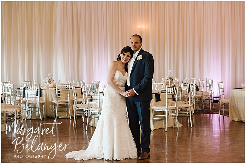 Kirkbrae Country Club portrait of bride and groom in ballroom