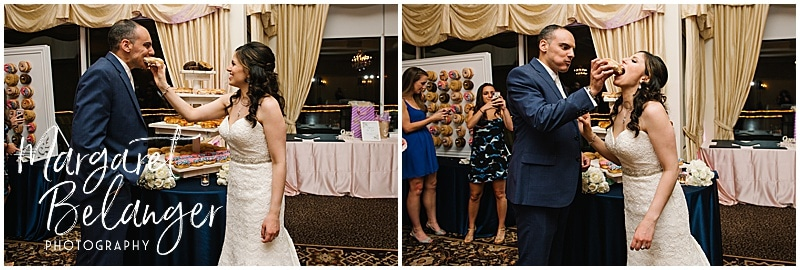 Kirkbrae Country Club wedding reception, bride and groom feeding each other Kane's donuts