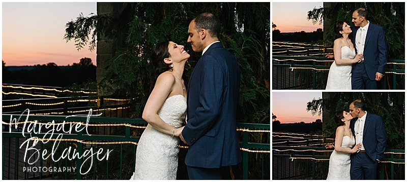 Kirkbrae Country Club wedding night portrait of bride and groom on the deck at sunset