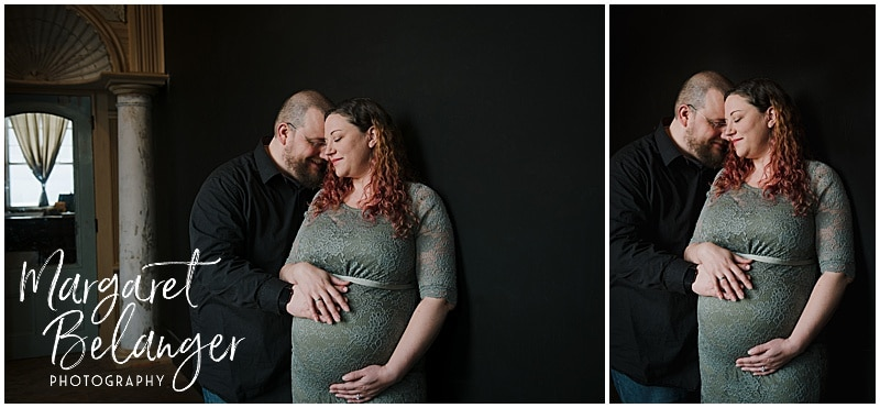 Mill No. 5 Lowell maternity session, photo of parents-to-be