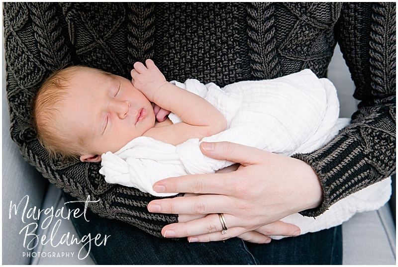 Newborn baby in mom's arms, New Hampshire newborn session