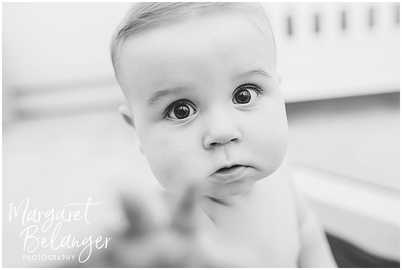7 month old reaching for the camera, Rhode Island family session