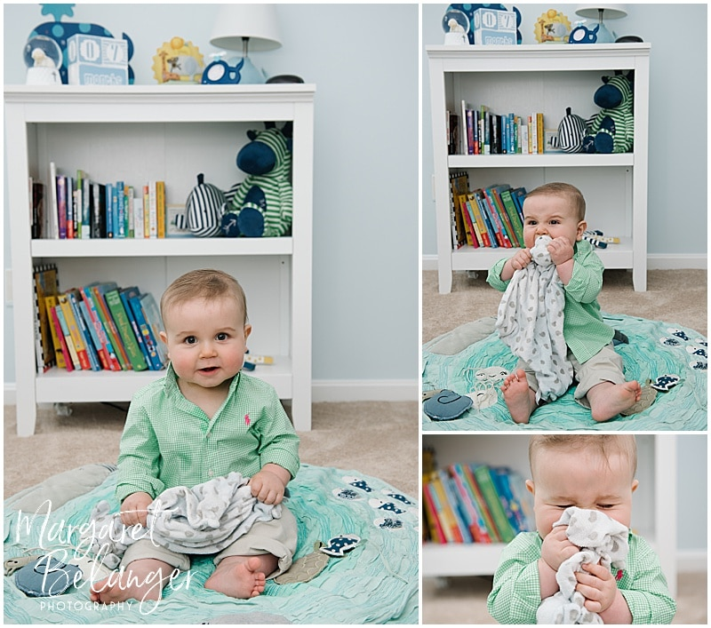 7 month old in his crib, Rhode Island family session