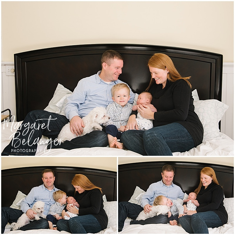 Winchester newborn session at home, family on bed with dog