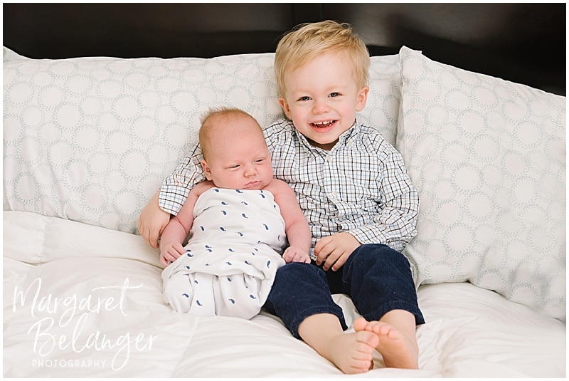 Winchester newborn session at home, brothers
