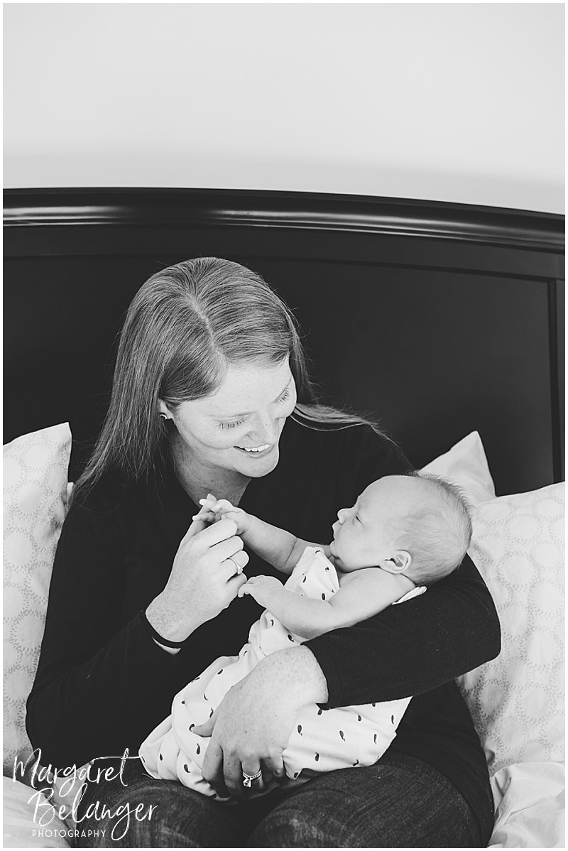 Winchester newborn session at home, mom and newborn son